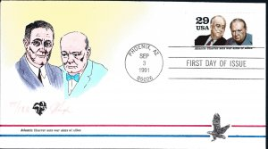Beautiful Pugh Painted WW!! Atlantic Charter FDC -only 188 created...