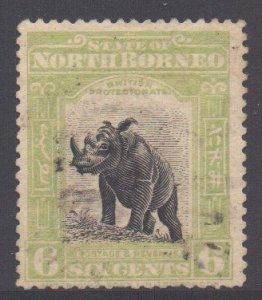 North Borneo Scott 142 - SG167, 1909 Rhinoceros 6c used
