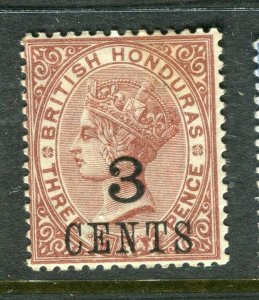 BRITISH HONDURAS; 1888 surcharged QV issue Mint hinged Shade of 3 CENTS value