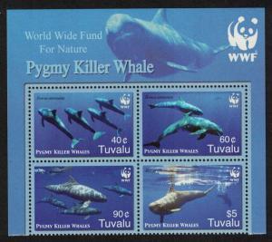 Tuvalu WWF Pygmy Killer Whale Block of 4 WWF Logo light background 2006 MNH