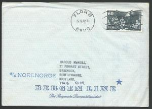 NORWAY 1972 cover FLORO, ship cachet.......................................14738