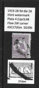1919 9d roo 3rd wmk die2B variety: white flaw in lower left  pl4 L48 ASC27(4)m
