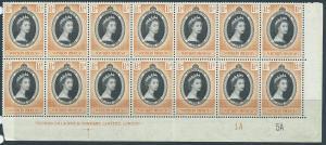 Northern Rhodesia  SG 60 MUH  Corner Block x 14 Plate 1A 5A
