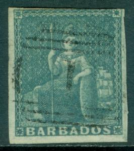 BARBADOS : 1852-55. Stanley Gibbons #4a Grey Slate. VF, Used. Scarce. Cat £1,200