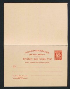 NORWAY Mi. P47 POSTAL STATIONERY POSTAL CARD 10+10 PAID REPLY