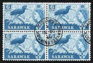SARAWAK SG206 1964 6c Greenish Blue Wmk w12 CDS Block Cat 20 pounds