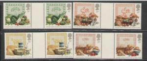 Great Britain Sc 1248-51 1989 food stamp gutter pairs mint