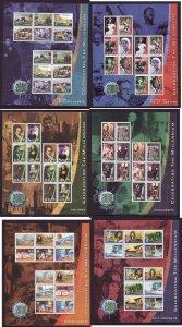 Ireland-Sc#1217-22-six unused NH sheets-Celebrating the Millennium-1999-2001-