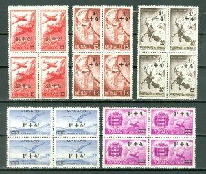 MONACO AIR SEMI-POSTALS #CB1-CB5...SET in BLKS...MNH...$12.00