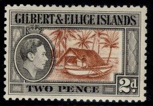 GILBERT AND ELLICE ISLANDS GVI SG46, 2d red-brown & grey-black, NH MINT.