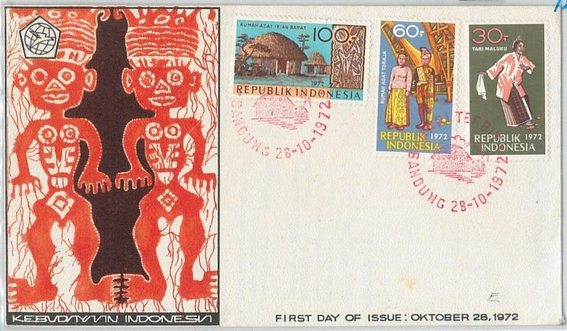 64883-  INDONESIA - POSTAL HISTORY -  FDC COVER 1972  - ETHNIC Costumes DANCE