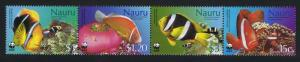Nauru WWF Anemones and Anemonefish Strip of 4v SG#566-569 MI#553-556 SC#514-517
