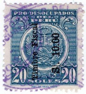 (I.B) Peru Revenue : Duty Stamp 10s on 20s OP