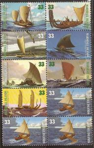 Marshall Islands 1999 Canoes of the Pacific 10 Stamp Block #698a