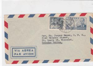 spain  1956 airmail stamps cover ref 19332