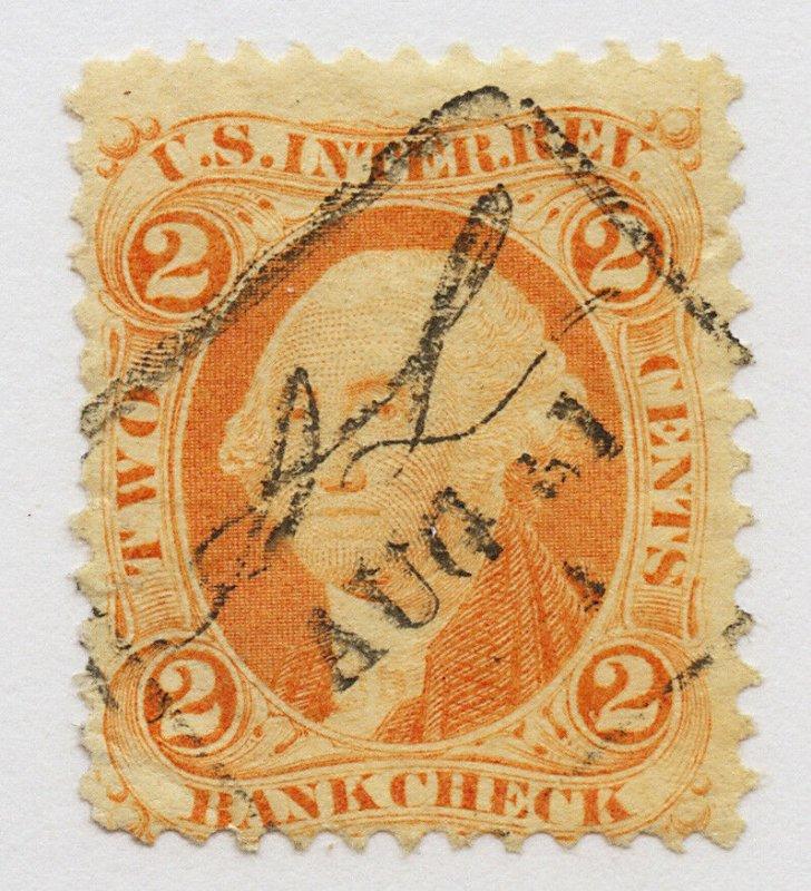 B46 U.S. Revenue Scott R6c 2-cent bank check, fancy railroad handstamp cancel