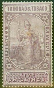 Trinidad & Tobago 1921 5s Dull Purple & Purple SG213 Good Lightly Mtd Mint