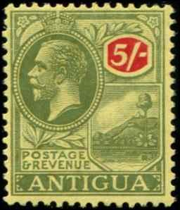 Antigua SC# 62 SG# 60 King George V 5shillings wmk 3 MLH