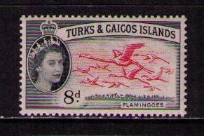 TURKS & CAICOS ISL Sc# 129 MH FVF Flamingoes Birds in Flight