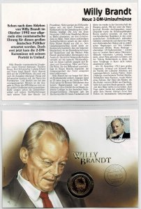 Germany 1994, Willy Brandt, German chancelor, coin cover