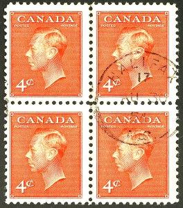 CANADA #306 USED BLOCK OF 4
