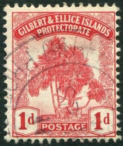 GILBERT & ELLICE ISLANDS-1911 1d Carmine Sg 9 FINE USED V34659