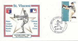 ST. VINCENT 1989 BASEBALL GAYLORD PERRY GIANTS FDC