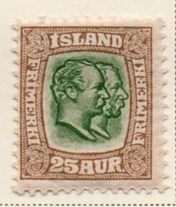 Iceland Sc 80 1907 25 aur bistre brown & green 2 Kings stamp mint
