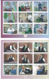 I LOVE LUCY  #2440 & #2449 MNH Two Sheets of 9 - Gambia E71a