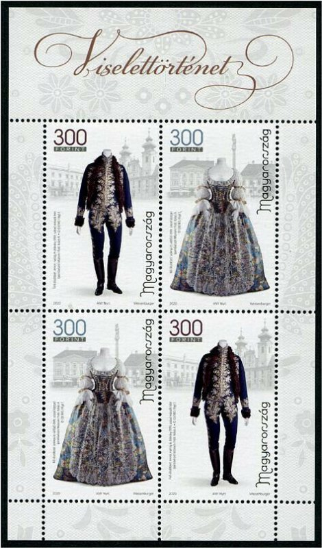 HERRICKSTAMP NEW ISSUES HUNGARY Sc.# 4541a History of Clothing III S/S of 4