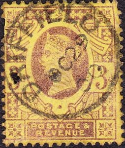 GREAT BRITAIN 1887 QV 3d Purple/Yellow SG202 Used