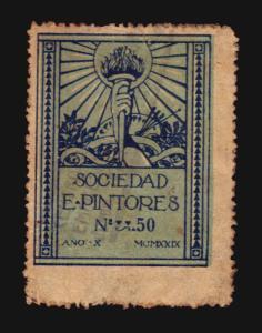 1929 ART PAINTING SOCIEDAD E PINTORES ART NOUVEAU POSTER STAMP CINDERELLA