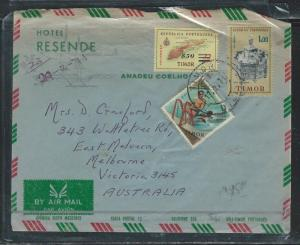 TIMOR (PP0309B) 1971 A/M REVALUED FISH STAMP + 2 OTHERS TO AUSTRALIA