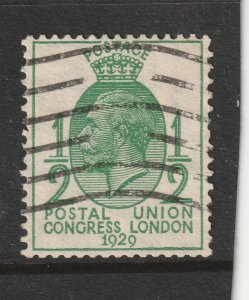Great Britain an used 0.5d from the 1929 set with sideways watermark