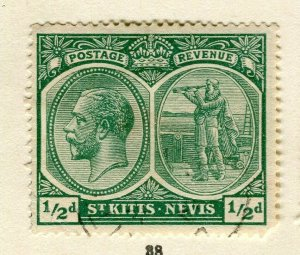 ST.KITTS; 1921 early GV issue fine used Columbus issue 1/2d. value