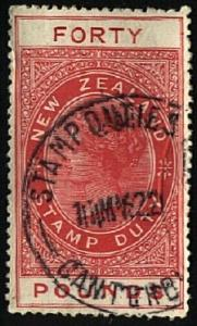 NEW ZEALAND 1880 LONG TYPE STAMP DUTY £40 used.............................22922