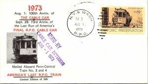 1973 N.Y. & Wash R.P.O. Railway Post Office + Last Trip Cachet #153