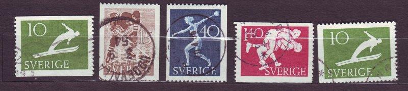 J22854 JLstamps 1953 sweden set used #444-8 sports