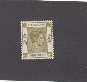 HONG KONG # 161 VF-MH KGV1 30cts ISSUE CAT VALUE $75