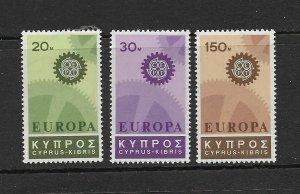 CYPRUS - 1967 EUROPA - SCOTT 297 TO 299 - MNH