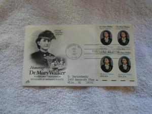 1982 US FDC DR. MARY WALKER PHY. REFORMER ADVOCATE OF WOMENS RIGHTS
