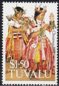 Tuvalu 1991 MNH Sc #585 $1.50 Traditional dance costume - Christmas