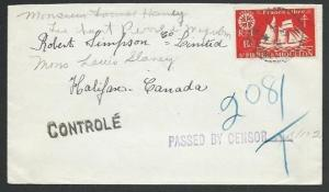 ST PIERRE & MIQUELON 1943 censor cover to Canada...........................61934