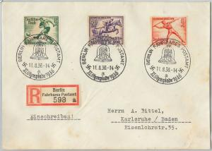 59953  - GERMANY - POSTAL HISTORY - REGISTERED COVER: OLYMPIC GAMES 1936