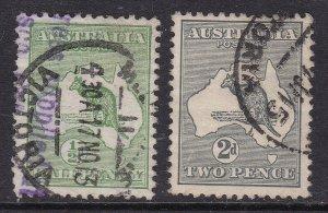 AUSTRALIA ^^^^1913   sc#1,3   used KANGAROOS  CLASSICS $$@x xha1142aust2