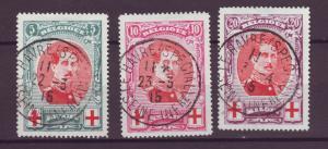 J21291 Jlstamps 1915 belgium set used #b31-3 king