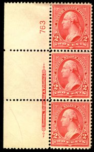 US US #279B PLATE STRIP OF 3, VF mint hinged, fresh color and nicely centered...