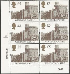 QEII GB 1992 SG1614 £5 Castles Plate Block Of 6 7D, unmounted mint condition.