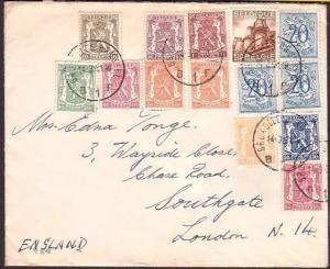BELGIUM 1951 cover to London - great franking - 14 stamps !