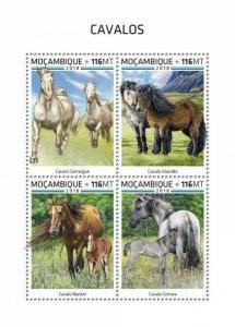 HERRICKSTAMP NEW ISSUES MOZAMBIQUE Horses Sheetlet